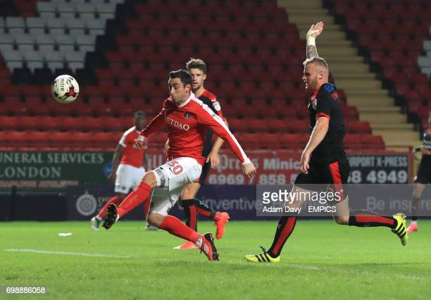 Charlton Athletic's Lee Novak misses a chance to score