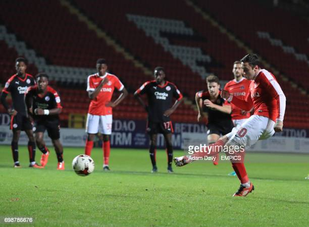Charlton Athletic's Lee Novak misses a penalty during the second half
