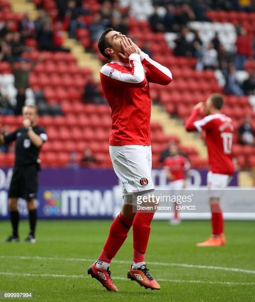 Charlton Athletic's Lee Novak reacting after his goal is ruled off side