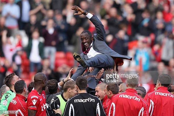 Charlton Athletic's manager Chris Powell celebrates his side's victory over Wycombe Wanderers at The Valley which sees them win the npower League One...
