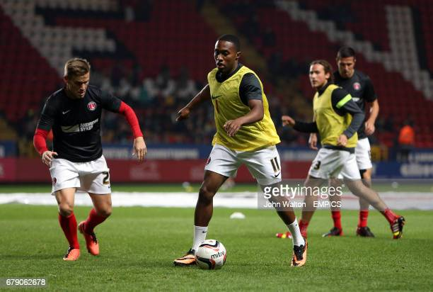 Charlton Athletic's Mark Gower and Callum Harriotts during the warm up