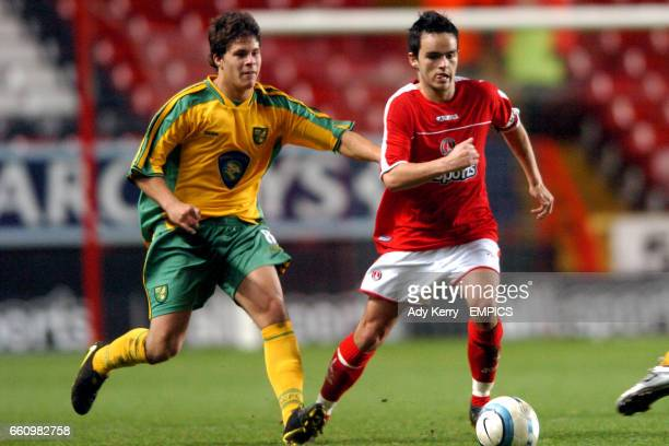 Charlton Athletic's Neil McCafferty and Norwich City's Danny Crow battle for the ball
