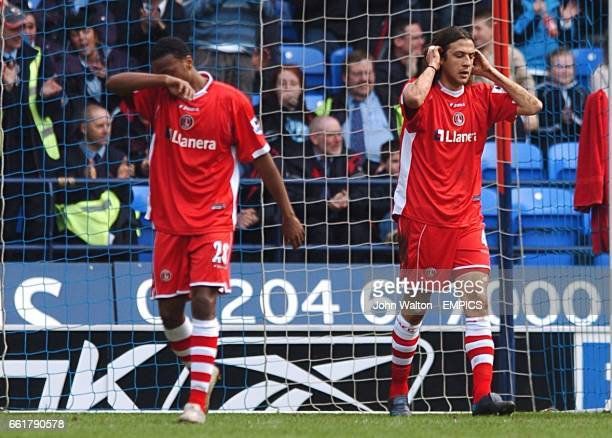 Charlton Athletic's Osei Sankofa and Gonzalo Sorondo stand dejected after conceding the second goal