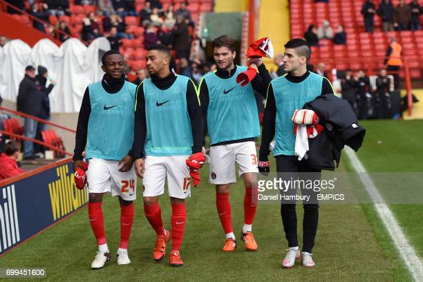 Charlton Athletic's Regan CharlesCook Tareiq HolmesDennis Oliver Muldoon and Cristian Ceballos walk on to the pitch prior to warm up
