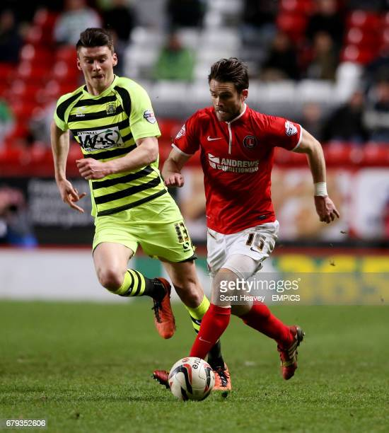 Charlton Athletic's Rhoys Wiggins and Yeovil Town's Kieffer Moore in action