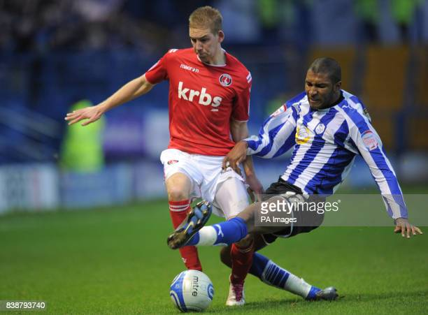 Charlton Athletic's Scott Wagstaff is challenged by Sheffield Wednesday's Reda Johnson during the npower League One match at Hillsborough Sheffield