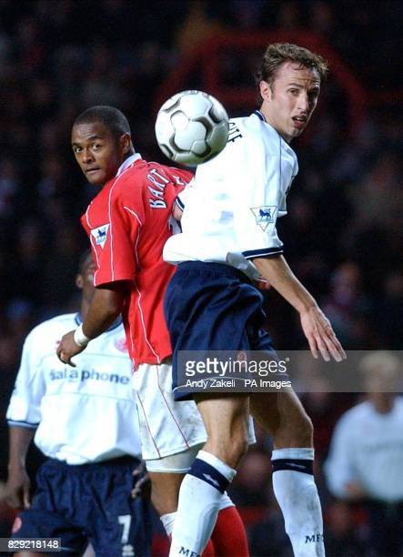 Charlton Athletic's Shaun Bartlett and Middlesbrough's Gareth Southgate both mistime their headers during their FA Barclaycard Premiership game at...