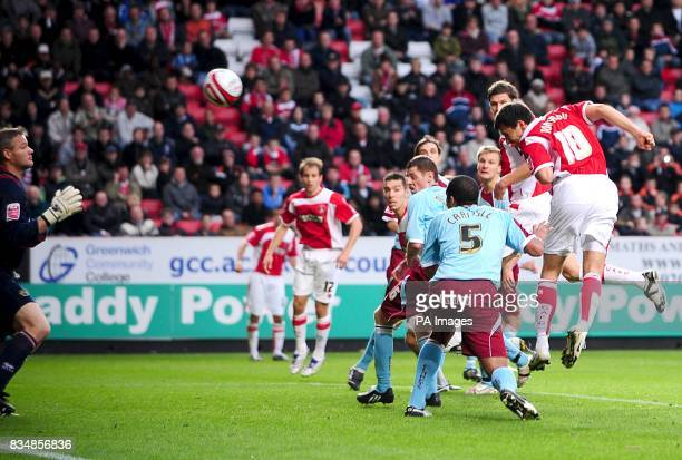 Charlton Athletic's Svetoslav Todorov scores the equalizer past Burnley's goalkeeper Brian Jensen