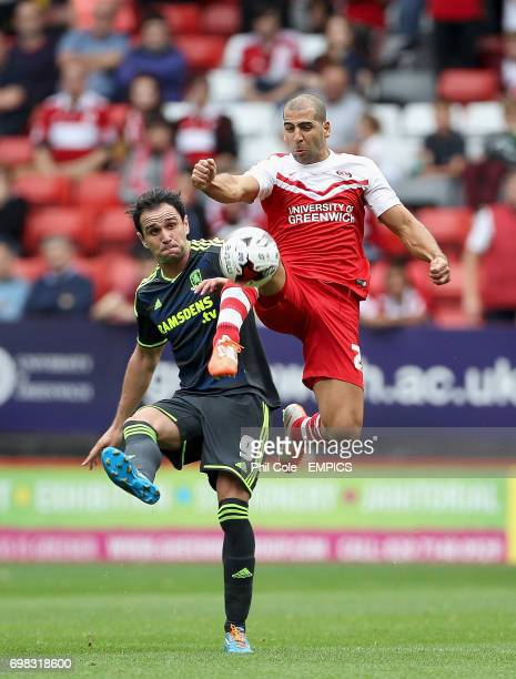 Charlton Athletic's Tal Ben Haim and Middlesbrough's Enrique Garcia Martinez battle for the ball during the Sky Bet Championship match at the Valley...