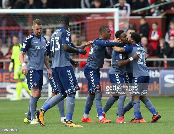 FLEETWOOD ENGLAND SEPTEMBER Charlton Athletic's Tariqe Fosu celebrates scoring his side's second goal with teammate Jay Dasilva during the Sky Bet...