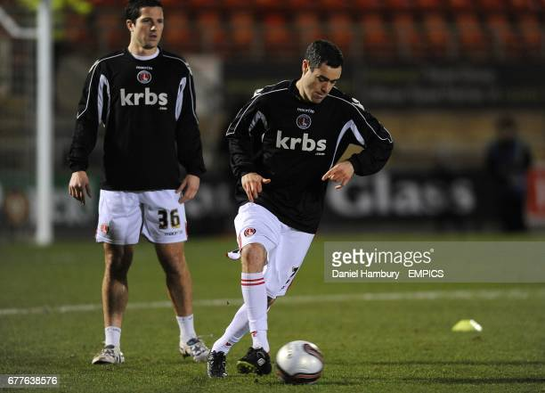 Charlton Athletic's Yann Kermorgant and Andy Hughes during the warmup