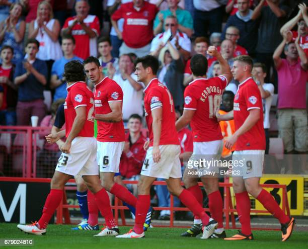 Charlton Athletic's Yann Kermorgant celebrates his goal with his team mates