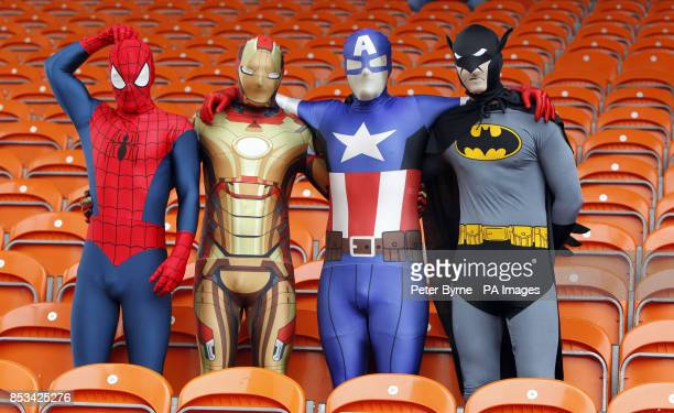 Charlton fans dressed as super heroes during the Sky Bet Championship match at Bloomfield Road Blackpool
