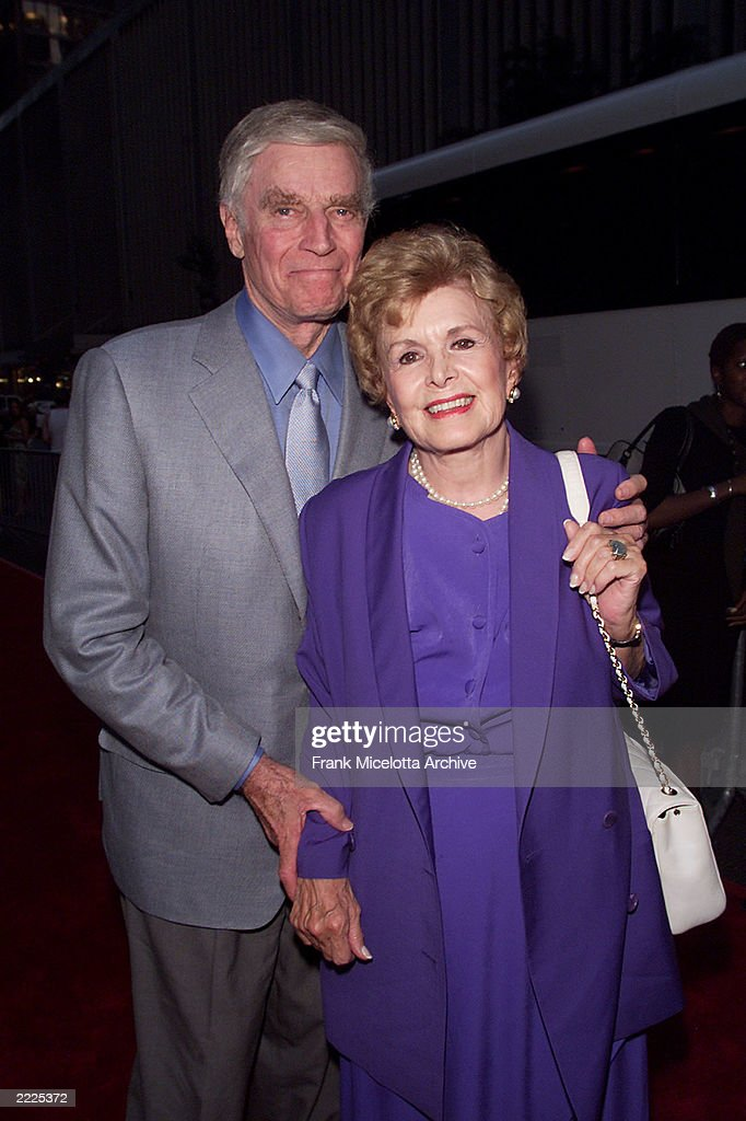 Charlton Heston and wife Lydia arrive for the world premiere of the 20th Century Fox film 'Planet of the Apes' at the Ziegfeld Theater in New York City, 7/23/01. Photo by Frank Micelotta/Getty Images.