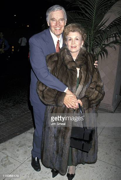 Charlton Heston and wife Lydia during 15th LA Film Critics Awards at Belage Hotel in Los Angeles CA United States