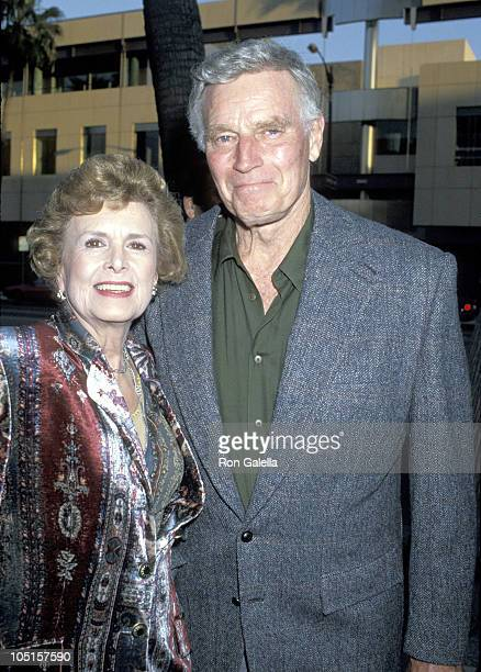 Charlton Heston and wife Lydia during Premiere of 'City Slickers II The Legend of Curly's Gold' at Academy Theater in Beverly Hills California United...