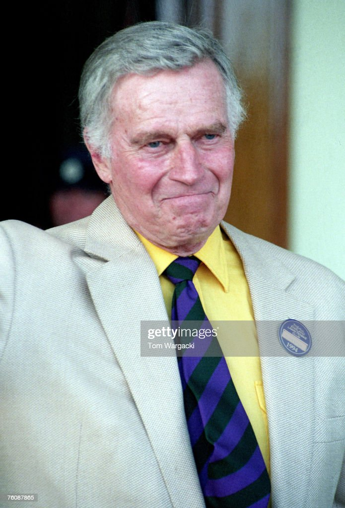 <a gi-track='captionPersonalityLinkClicked' href=/galleries/search?phrase=Charlton+Heston&family=editorial&specificpeople=123834 ng-click='$event.stopPropagation()'>Charlton Heston</a> attends the Wimbledon Tennis Championships Mens Final at the All England Club on July 3, 1994 in London.