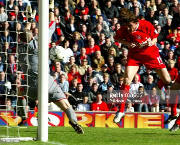 Charlton keeper Dean Kiely makes a point blank save from Liverpool's Vladimir Smicer during the Barclaycard Premiership match at Anfield Liverpool...