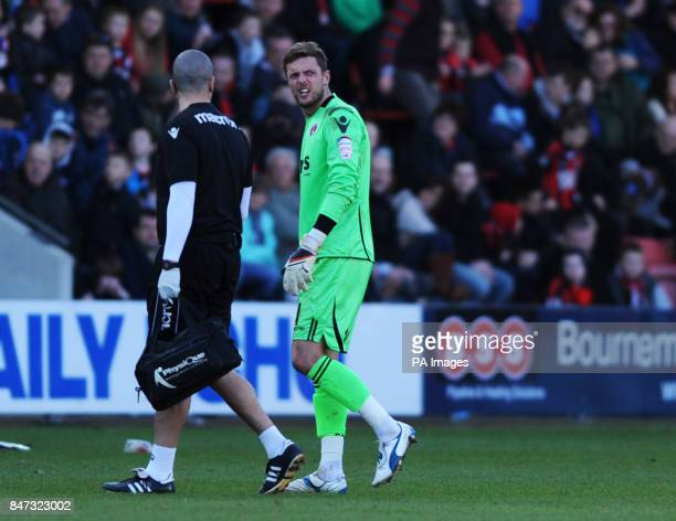 Charlton's Ben Hamer goes off injured in the second half during the npower Football League One match at Seward Stadium Bournemouth