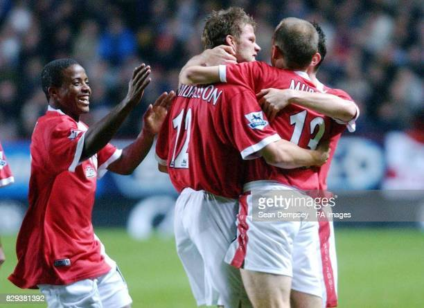 Charlton's Hermann Hreidarsson celebrates his goal with team mates Kevin Lisbie and Danny Murphy during their match against Crystal Palace at the...
