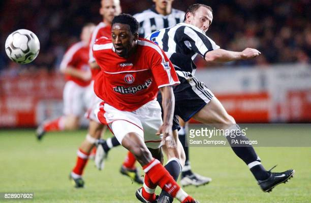 Charlton's Jason Euell goes past Newcastle United's Andy O'Brien during their Barclaycard Premiership match at Charlton's The Valley ground in London...