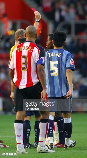 Charlton's Jose Semedo is shown the red card during the CocaCola Football Championship match at St Mary's Southampton