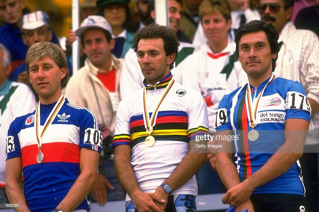 Charly Montet of France Moreno Argentin of Italy and Sarroni also of Italy stand on the winners'' podium after the World Cycling Championships in...