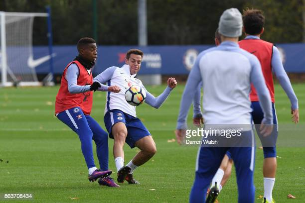 Charly Musonda and Cesar Azpilicueta of Chelsea during a training session at Chelsea Training Ground on October 20 2017 in Cobham United Kingdom