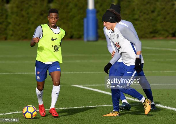 Charly Musonda and David Luiz of Chelsea during a training session at Chelsea Training Ground on November 10 2017 in Cobham England