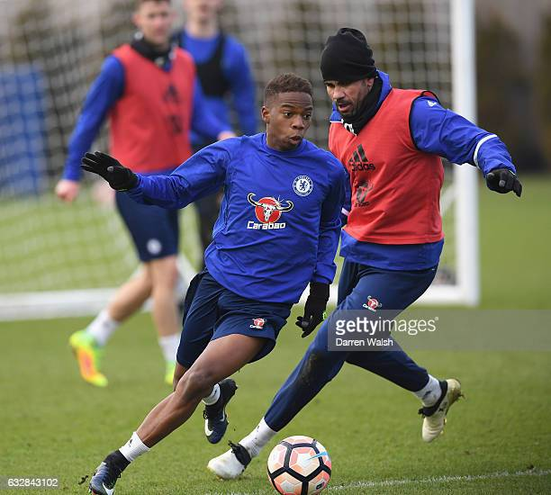 Charly Musonda and Diego Costa of Chelsea during a training session at Chelsea Training Ground on January 27 2017 in Cobham England