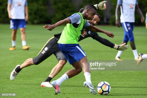 Charly Musonda and Eduardo of Chelsea during a training session at Chelsea Training Ground on September 4 2017 in Cobham England