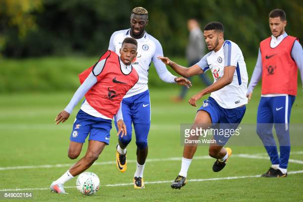 Charly Musonda and Jake ClarkeSalter of Chelsea during a training session at Chelsea Training Ground on September 18 2017 in Cobham England