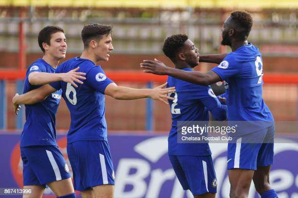 Charly Musonda celebrates his goal during the Premier League 2 match between Chelsea and Arsenal at on October 28 2017 in Aldershot England