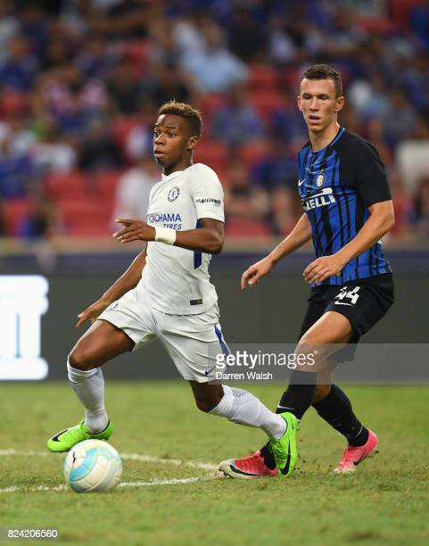 Charly Musonda Jr of Chelsea goes past Ivan Perisic of Internazionale during the International Champions Cup match between FC Internazionale and...