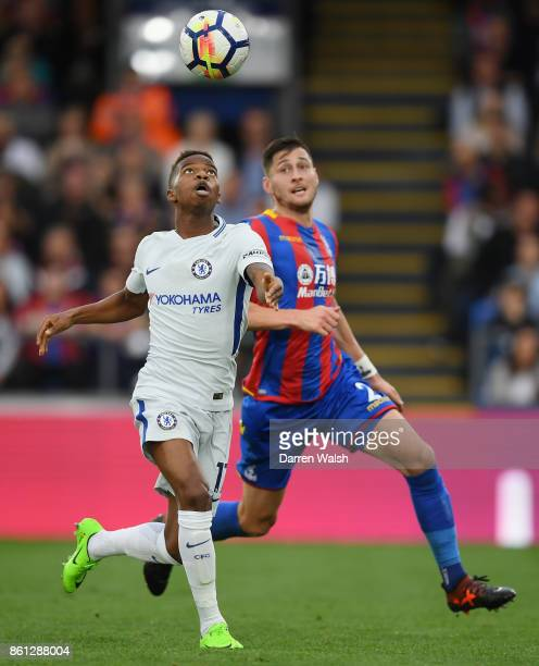 Charly Musonda of Chelsea and Joel Ward of Crystal Palace compete for the ball during the Premier League match between Crystal Palace and Chelsea at...