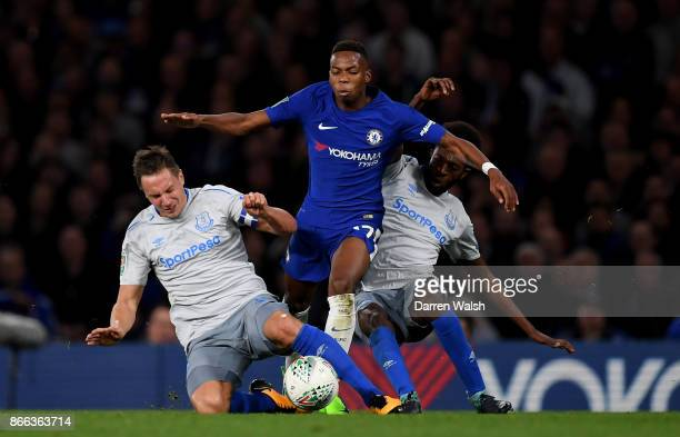 Charly Musonda of Chelsea and Phil Jagielka of Everton battle for possession during the Carabao Cup Fourth Round match between Chelsea and Everton at...