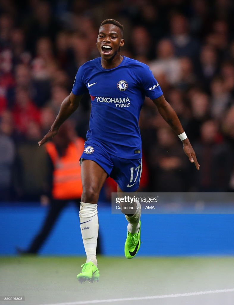 Charly Musonda of Chelsea celebrates after he scores a goal to make it 3-0 during the Carabao Cup Third Round match between Chelsea and Nottingham Forest at Stamford Bridge on September 20, 2017 in London, England.