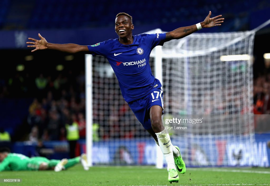 Charly Musonda of Chelsea celebrates after scoring during the Carabao Cup Third Round match between Chelsea and Nottingham Forest at Stamford Bridge on September 19, 2017 in London, England.