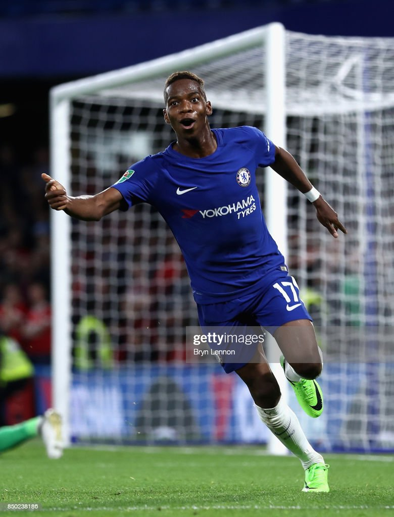 Charly Musonda of Chelsea celebrates scoring his sides third goal during the Carabao Cup Third Round match between Chelsea and Nottingham Forest at Stamford Bridge on September 19, 2017 in London, England.