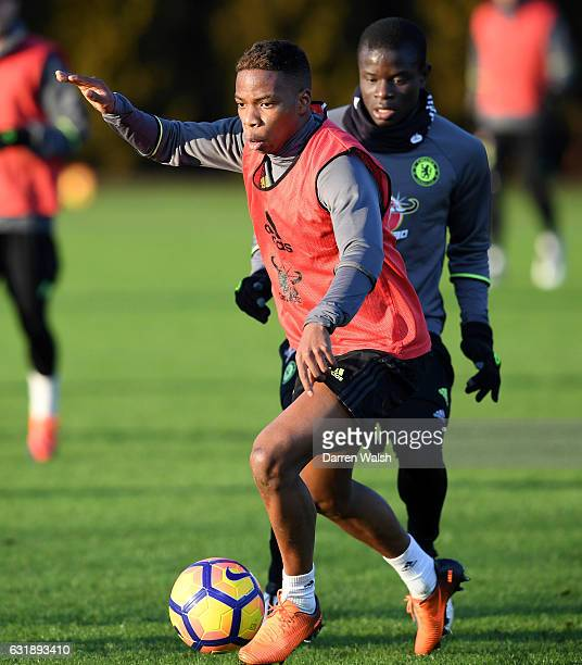 Charly Musonda of Chelsea during a training session at Chelsea Training Ground on January 17 2017 in Cobham England
