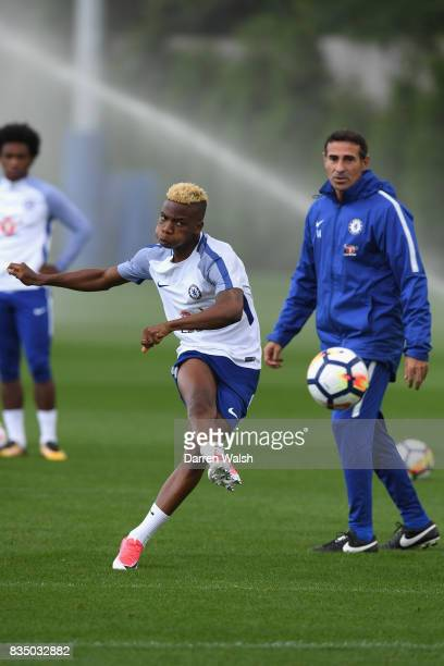 Charly Musonda of Chelsea during a training session at Chelsea Training Ground on August 18 2017 in Cobham England