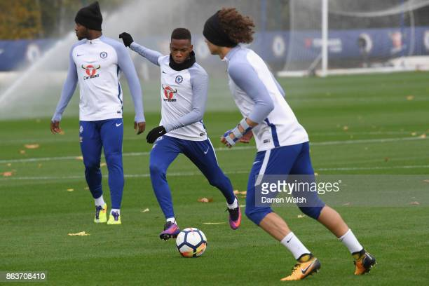 Charly Musonda of Chelsea during a training session at Chelsea Training Ground on October 20 2017 in Cobham United Kingdom