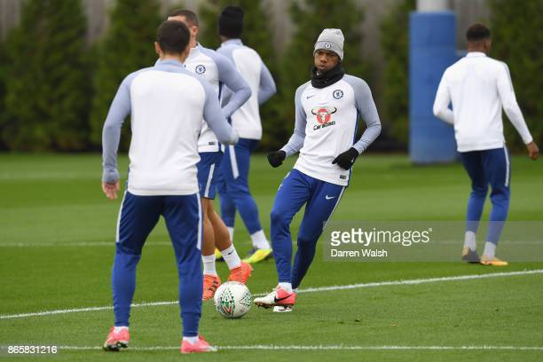 Charly Musonda of Chelsea during a training session at Chelsea Training Ground on October 24 2017 in Cobham England
