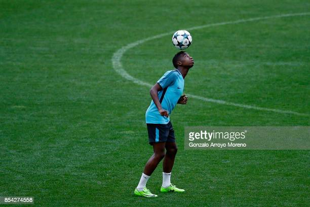 Charly Musonda of Chelsea FC excercises during a training session ahead of the UEFA Champions League Group C match between Atletico de Madrid and...