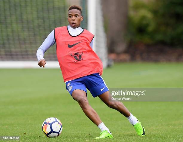 Charly Musonda of Chelsea in action during a training session at Chelsea Training Ground on July 12 2017 in Cobham England