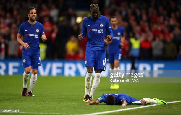 Charly Musonda of Chelsea lies on the pitch as he celebrates after he scores a goal to make it 30 during the Carabao Cup Third Round match between...