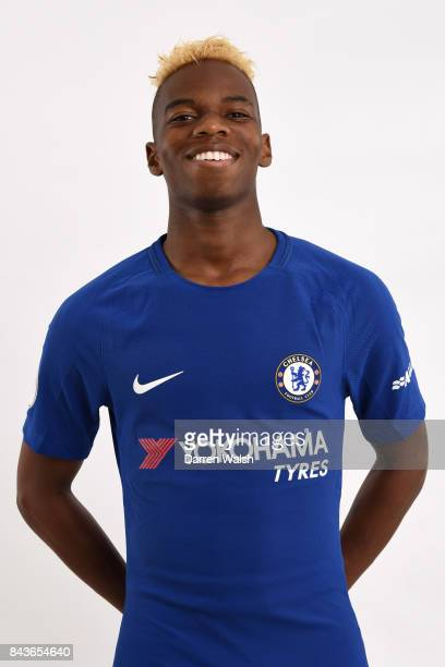 Charly Musonda of Chelsea poses during the Chelsea photo call at Chelsea Training Ground on August 8 2017 in Cobham England