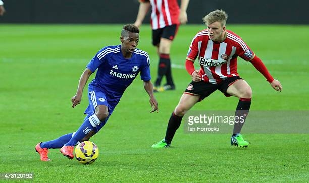 Charly Musonda of Chelsea under pressure from Martin Smith of Sunderland during the Barclays U21 Premier League match between Sunderland and Chelsea...