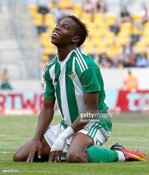 Charly Musonda of Real Betis reacts during the Bundeswehr Karriere Cup Dresden 2016 match between Werder Bremen and Real Betis at DDVStadion on July...