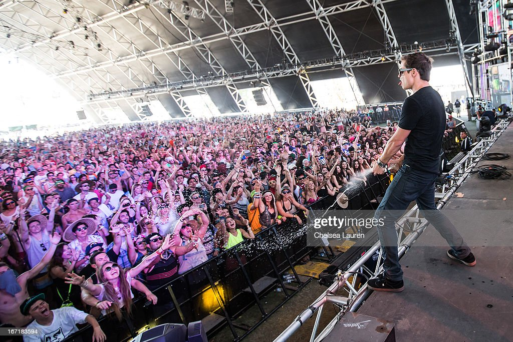 DJ Charly of Dirtyphonics performs during the Coachella Valley Music & Arts Festival at The Empire Polo Club on April 21, 2013 in Indio, California.